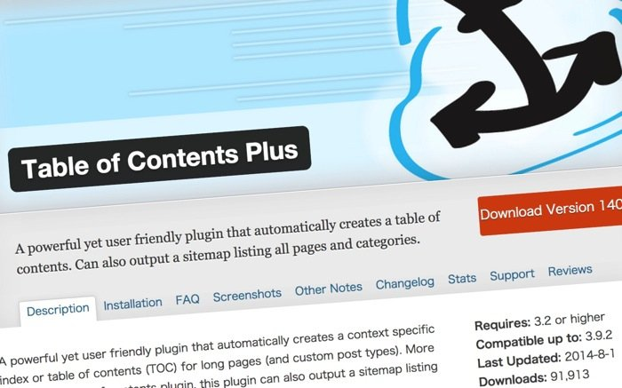 table of content + plugin