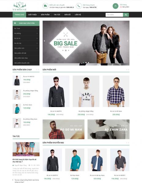Giao diện website Bizweb